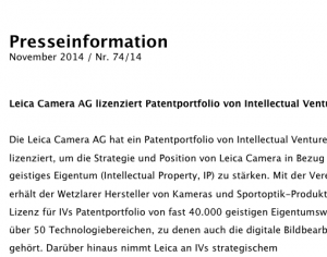 Leica Camera AG lizenziert Patentportfolio von Intellectual Ventures